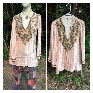 Boston Proper Crushed Velvet Beaded Tunic